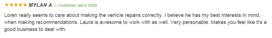 Car Repair Customer Review